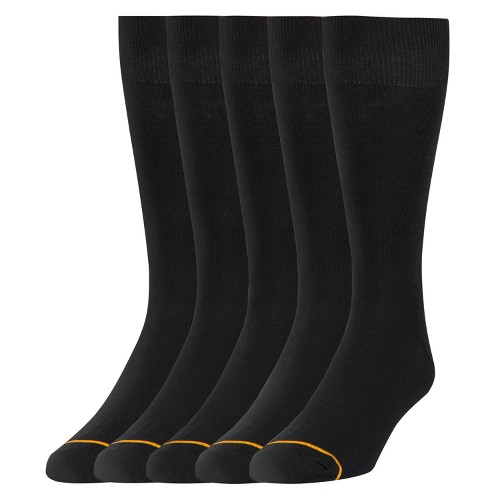Signature Gold by GOLDTOE Men's Flatknit Crew Socks 5pk - Black 6-12, Men's