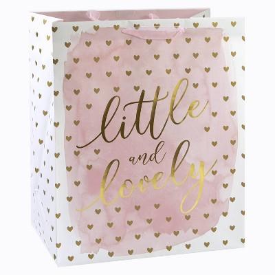 XLarge 'Little & Lovely' Hearts Baby Shower Gift Bag Pink/Gold - Spritz™