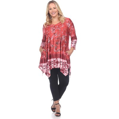 Women's Plus Size Victorian Print Tunic Top with Pockets - White Mark