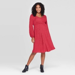 Maternity Long Sleeve Smocked Jacquard Dress - Isabel Maternity by Ingrid & Isabel™ Ruby