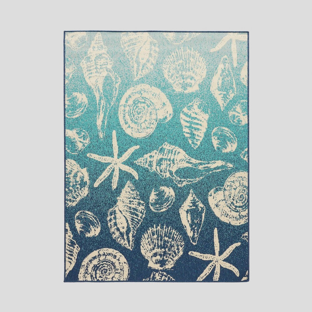5 3 X 7 Sea Breeze Ombre Outdoor Rug Blue Ivory Christopher Knight Home