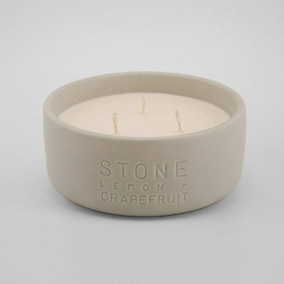 11oz Debossed Ceramic Jar 3-Wick Candle Stone - Lemon & Grapefruit - Project 62™