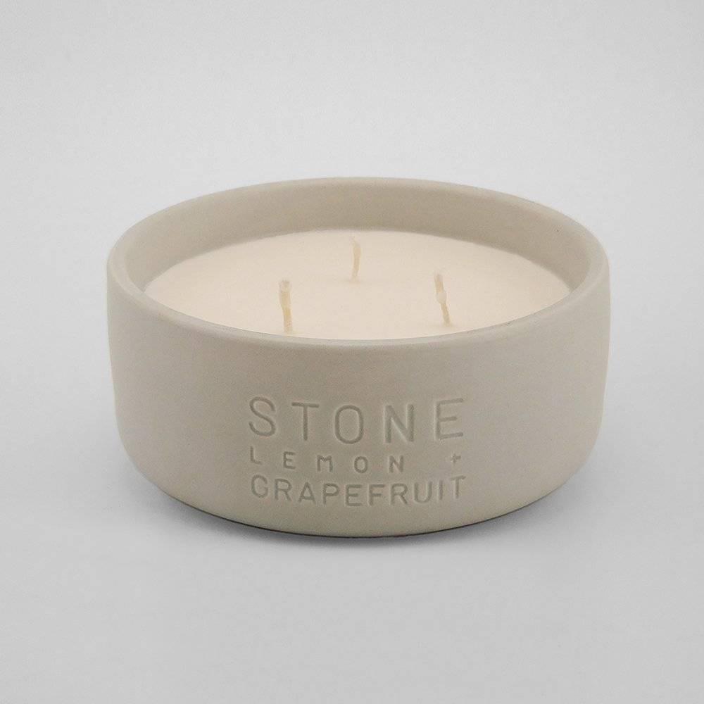 Image of 11oz Debossed Ceramic Jar 3-Wick Candle Stone - Lemon & Grapefruit - Project 62