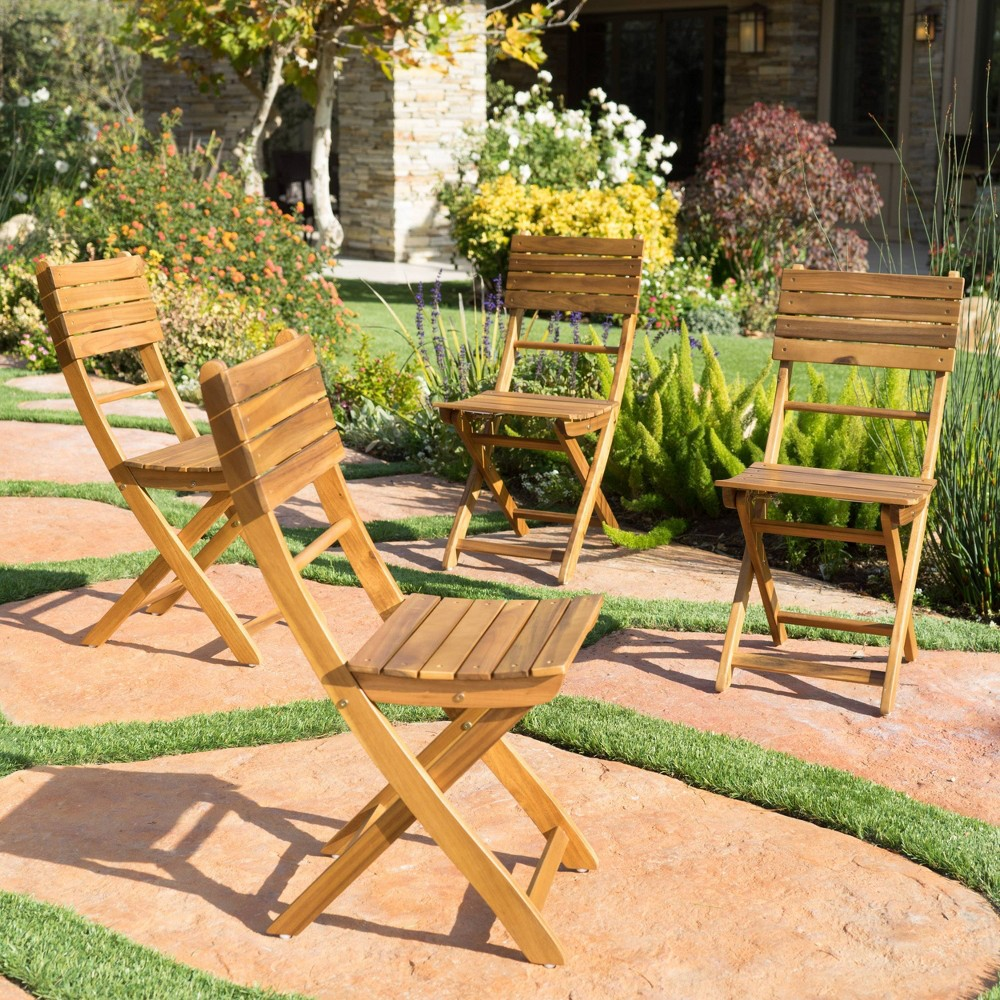 Positano 4pk Acacia Wood Foldable Dining Chairs - Natural - Christopher Knight Home
