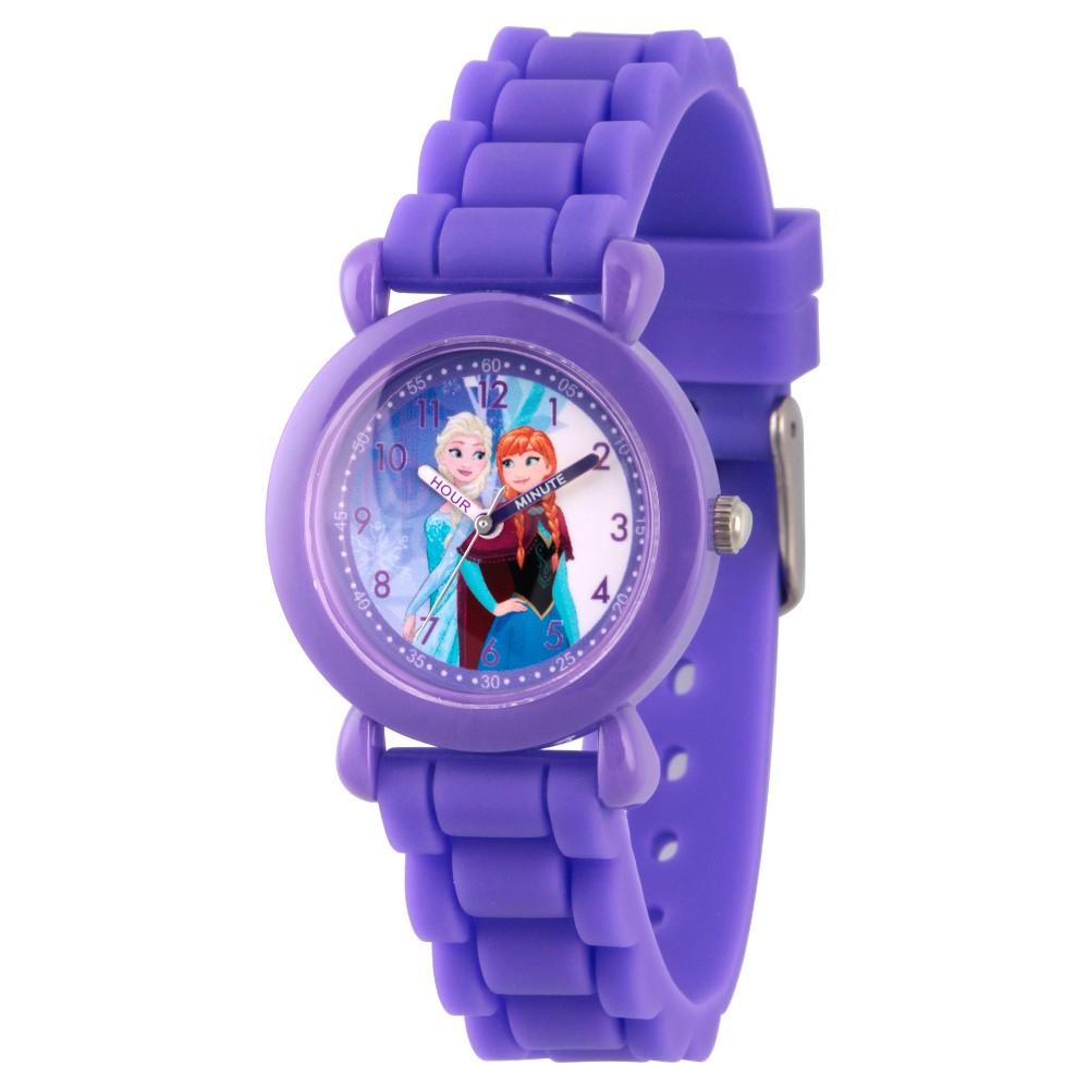 Image of Girls' Disney Frozen Elsa and Anna Purple Plastic Time Teacher Watch - Purple
