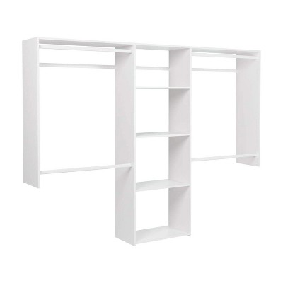 Easy Track OK1460 Deluxe Starter Closet Storage Wall Mounted Wardrobe Organizer System Kit with Shelves and Rods in White for Bedroom with Hardware