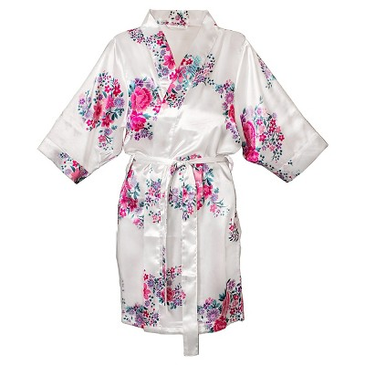Women's Bride Satin Floral Robe - S/M