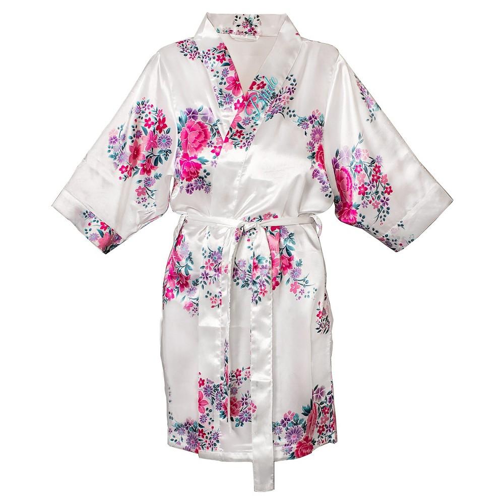 Women's Bride Satin Floral Robe - S/M, White