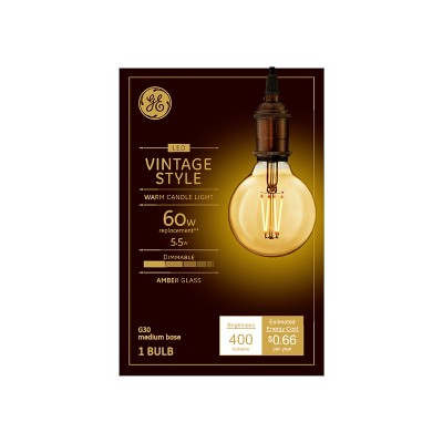 60w Vintage G30 Globe Filament Amber LED Light Bulb White - General Electric