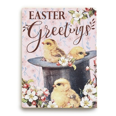 Lakeside Easter Greetings Plaque - Vintage-Style Wall Art with Baby Chicks