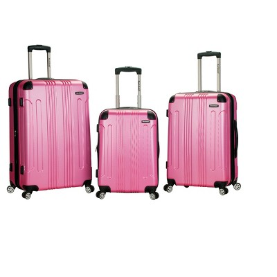 Rockland Sonic 3pc Expandable ABS Spinner Luggage Set - Pink