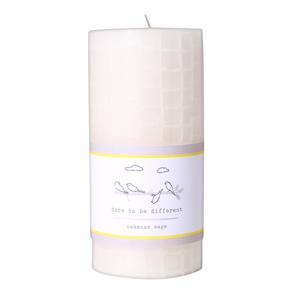 Image of 20.5oz Etched Pillar Candle Oakmoss Sage - Happy Place, Yellow