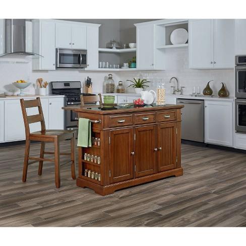 Farmhouse Basics Kitchen Island With Granite Top Vintage Oak - OSP Home  Furnishings