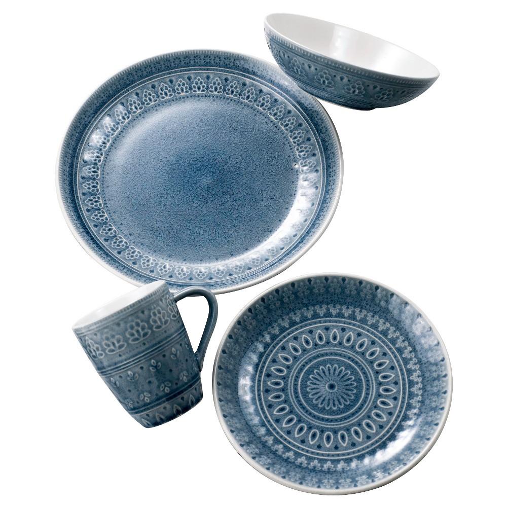 Euro Ceramica Fez 16pc Dinnerware Set - Gray, Dove Gray