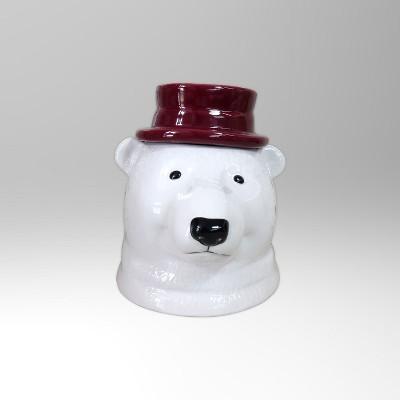 Polar Bear with Gold Hat Ceramic Cookie Jar 75oz - White - Threshold™