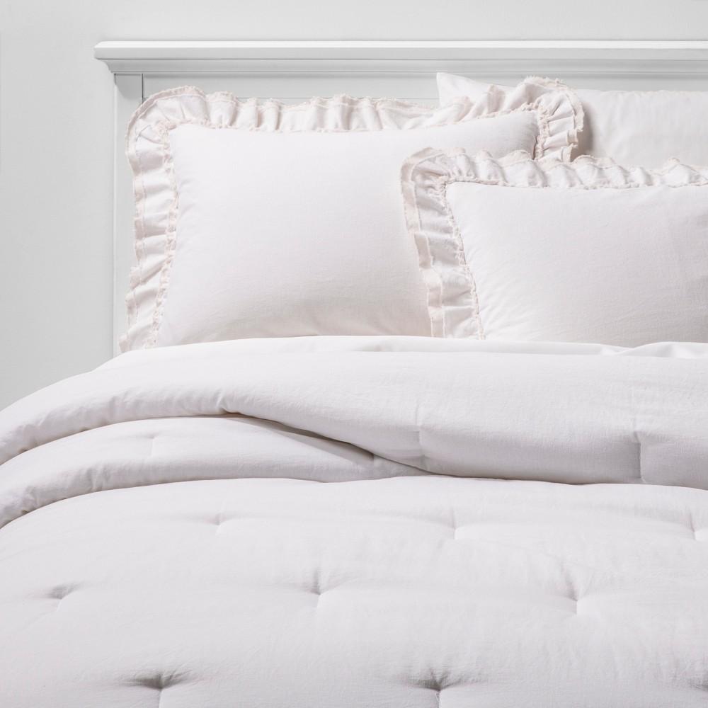 Full/Queen Ruffle Edge Comforter & Sham Set Natural - Simply Shabby Chic