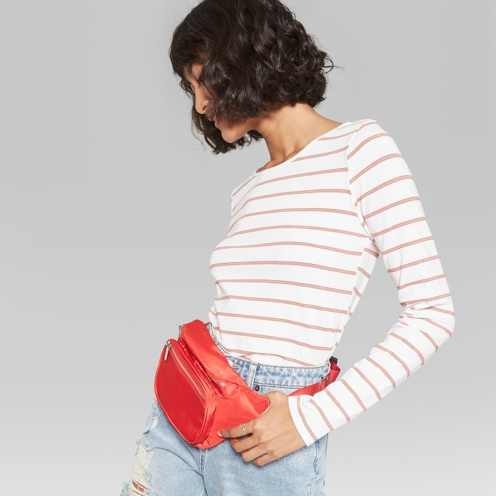 Women's Long Sleeve Striped Crew Neck T-Shirt - Wild Fable Orange XS