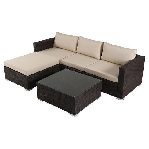 Santa Rosa 5pc Wicker Seating Sectional Set with Cushions - Christopher Knight Home - image 1 of 4