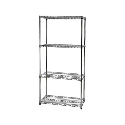 "Staples Wire Shelving 4 Shelves 72"" x 36"" x 18"" Chrome 307316"