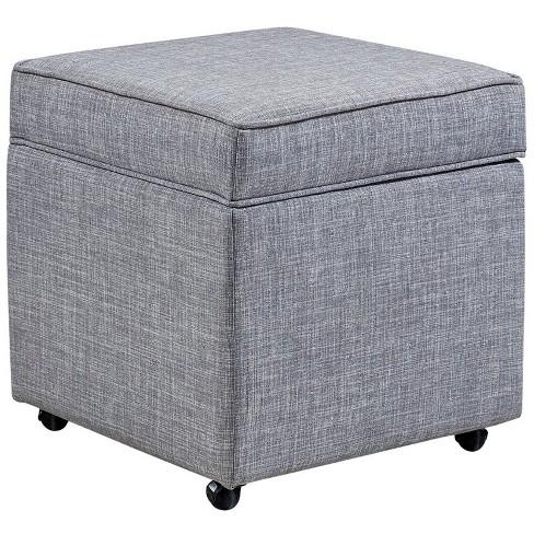 Ruby Light Grey Linen Cube Ottoman - Hidden Storage - Castered Legs in Gray - Posh Living - image 1 of 3