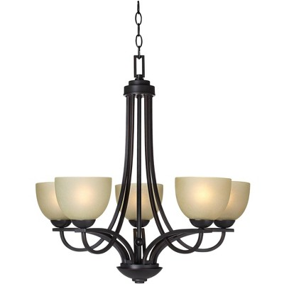 """Franklin Iron Works Italian Bronze Chandelier 26"""" Wide Modern Antique Amber Glass 5-Light Fixture for Dining Room House Bedroom"""