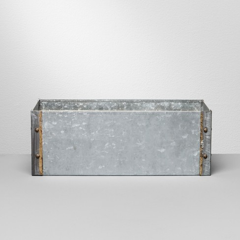 Galvanized Rectangle Vase With Flower Frogger Hearth Hand With