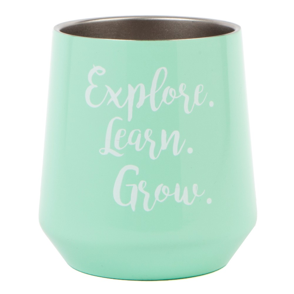 Explore Learn Grow Stemless Wine Glass 12oz - Aqua (Blue)