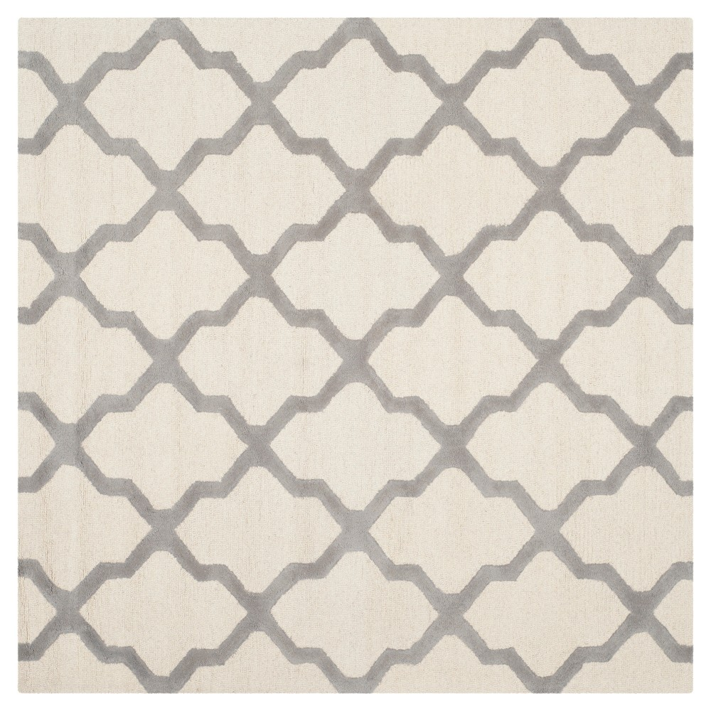 8'X8' Geometric Area Rug Ivory/Silver - Safavieh
