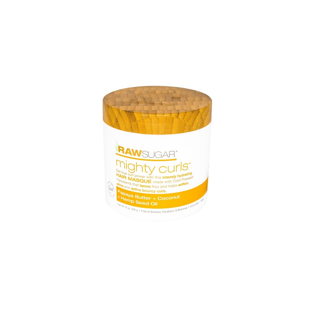Image of Raw Sugar Mighty Curls Papaya Butter + Coconut Oil + Hemp Seed Oil Hair Masque - 12 oz