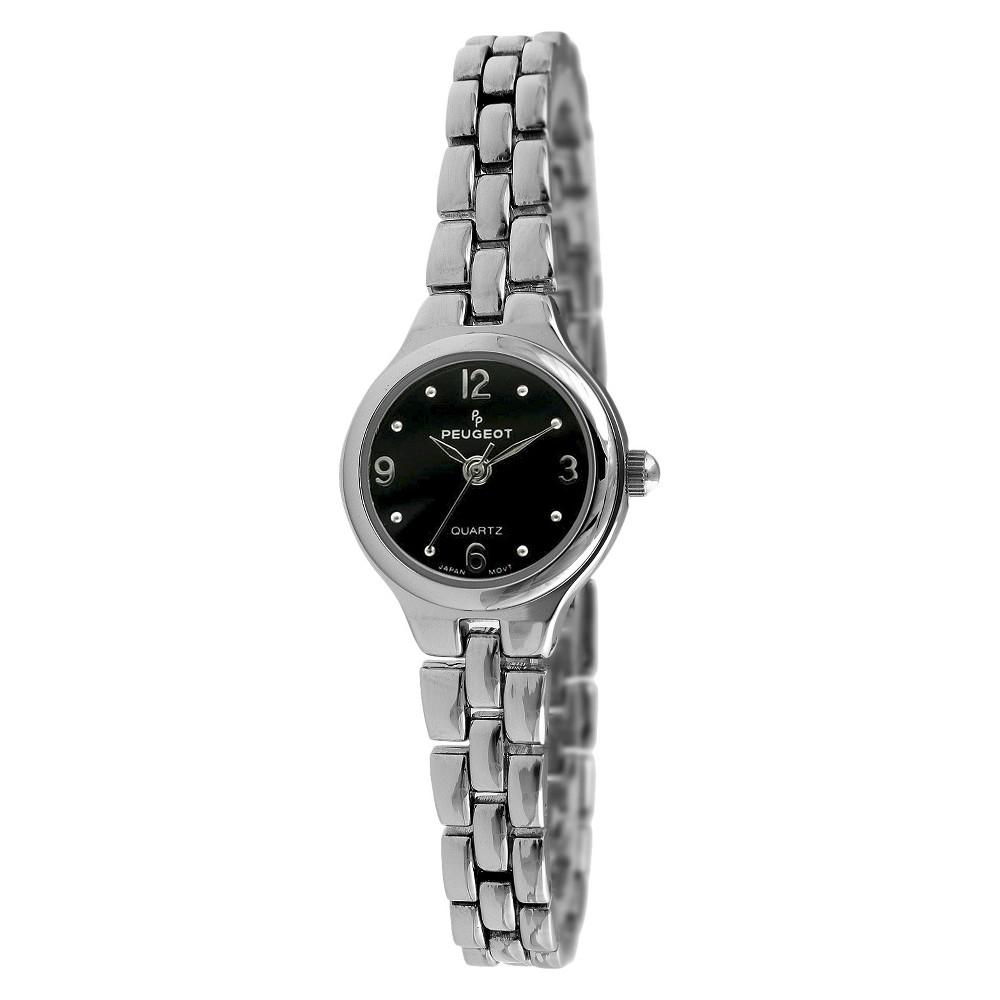 Women' Peugeot -tone Bracelet Black Dial Watch -