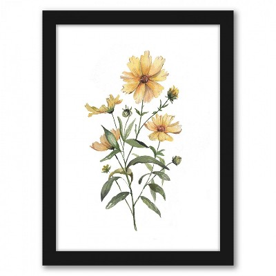 Americanflat Coreopsis by Cami Monet Black Frame Wall Art