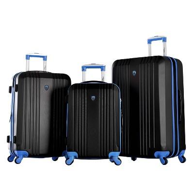 Olympia USA Apache II 3pc Luggage Set - Black/Blue