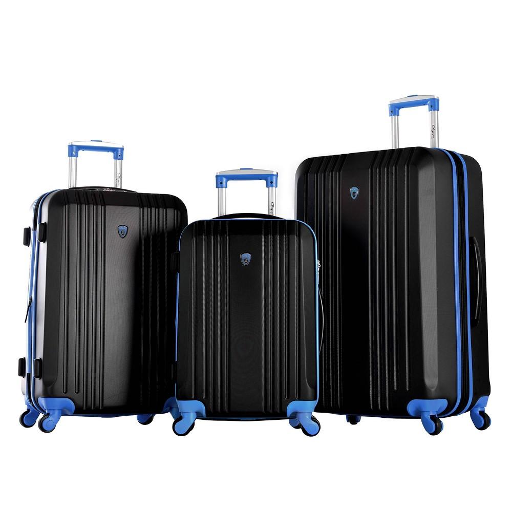 Image of Olympia USA Apache II 3pc Luggage Set - Black/Blue