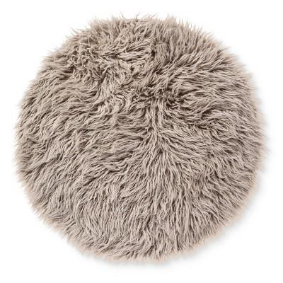 Faux Fur Rug (3' Round)Gray - Pillowfort™