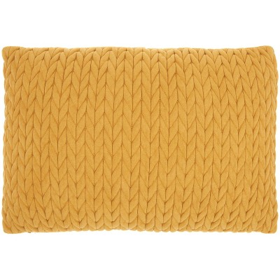 """14""""x20"""" Life Styles Quilted Chevron Throw Pillow Yellow - Nourison"""