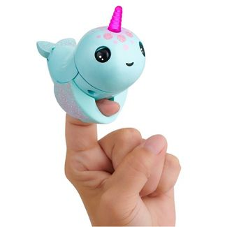 Fingerlings Light Up Narwhal - Nikki (Turquoise) - Friendly Interactive Toy by WowWee