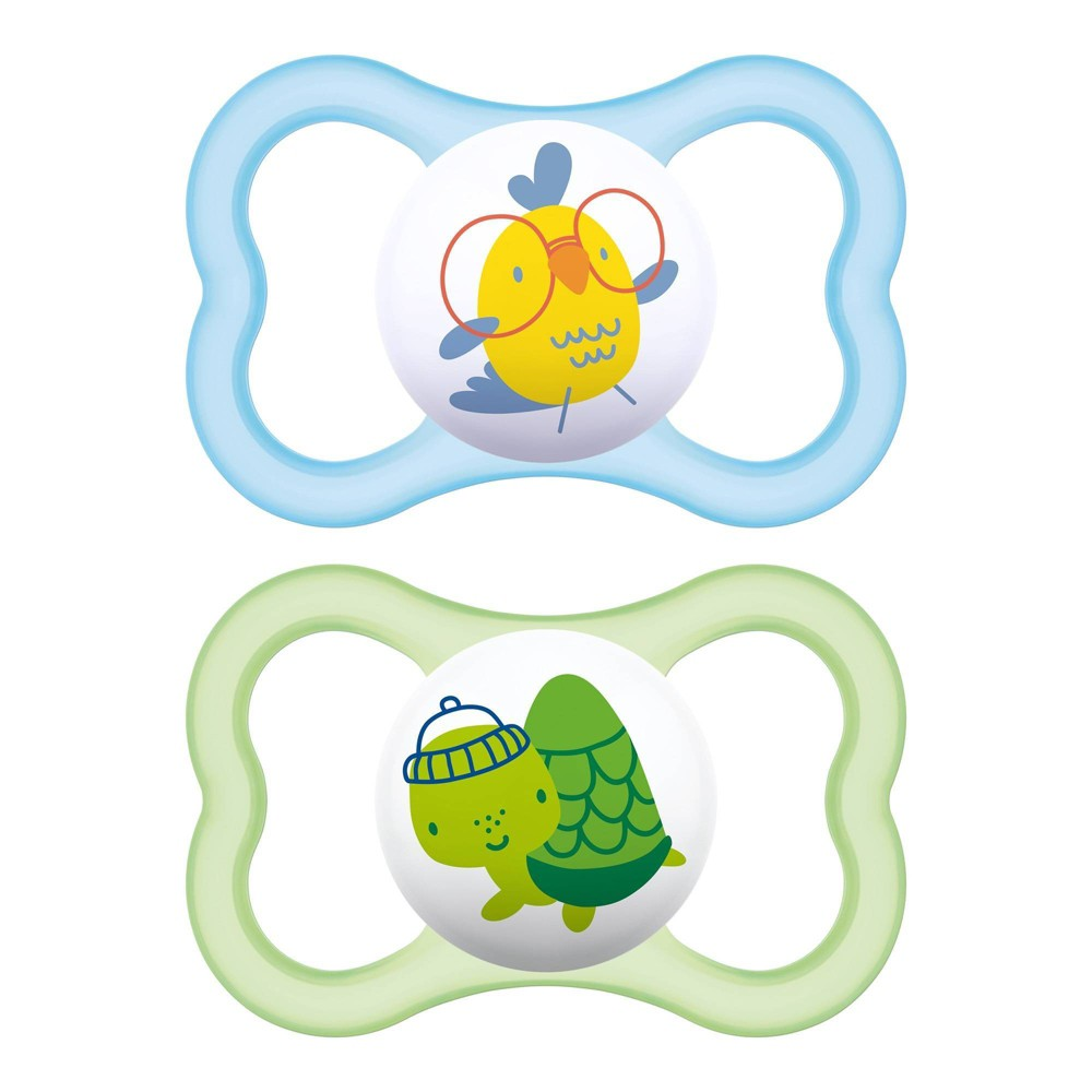 Image of MAM Air Pacifier 6+ Months - Green/Blue 2pk
