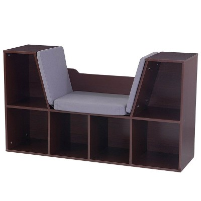 KidKraft Children's Bookcase with Reading Nook and Cushions, Espresso | 14231