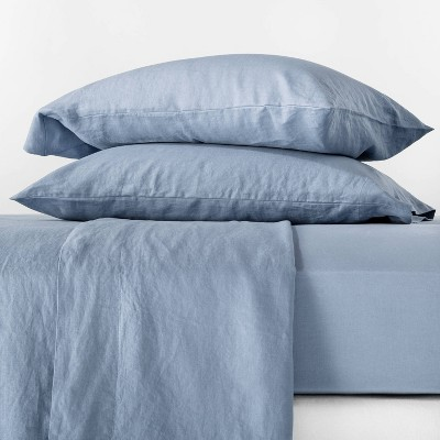 Queen 100% Washed Linen Solid Sheet Set Deep Sky Blue - Casaluna™
