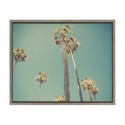 """18"""" x 24"""" Sylvie Palm Trees in Lajolla Framed Canvas By Shawn St. Peter Gray - DesignOvation"""