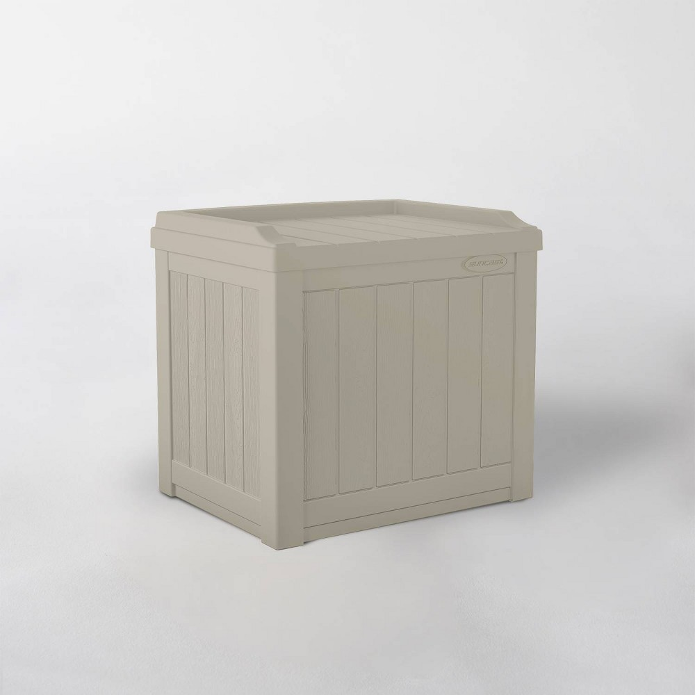 Image of 22gal Resin Storage Seat Taupe - Suncast, Gray