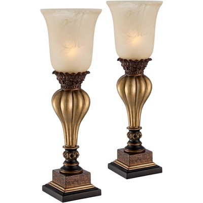 Regency Hill Sattley Alabaster Glass Gold Console Lamp Set of 2