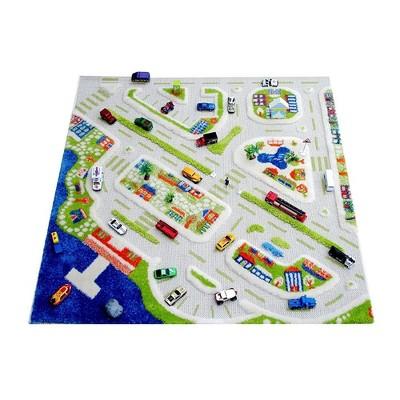 IVI 3D Play Carpets 121MD034-134180 71 x 52.5-inch Mini City Educational Toddler Mat Rug for Bedroom, Kids Den, or Playroom, Large
