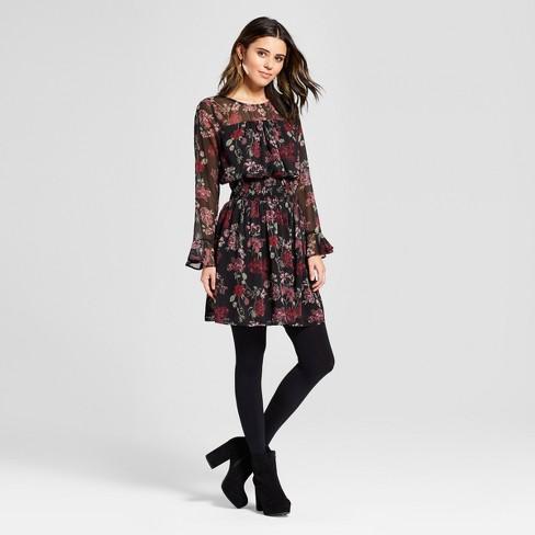 Women s Long Sleeve Floral Printed Smocked Waist Chiffon Dress -  Xhilaration™ c9c69d0de9