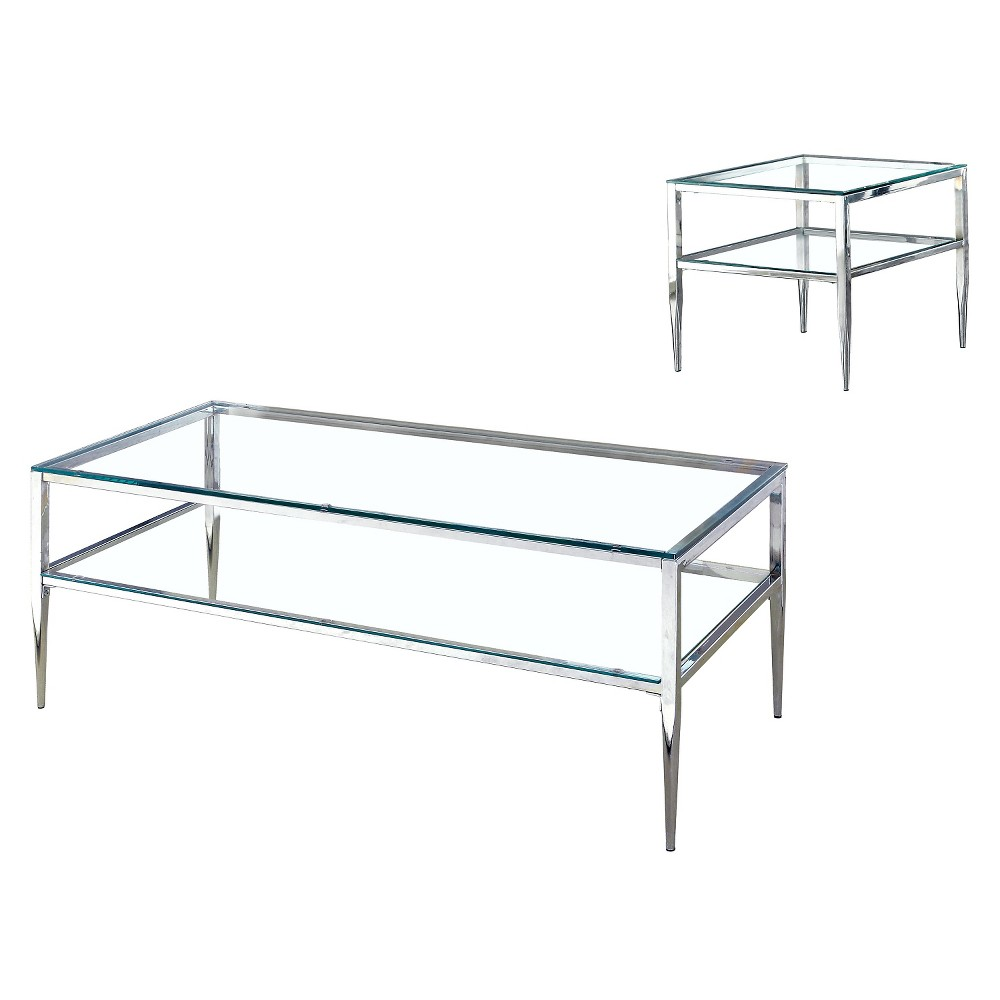 Image of 2pc Aubrey Occasional Table Set Chrome - ioHOMES