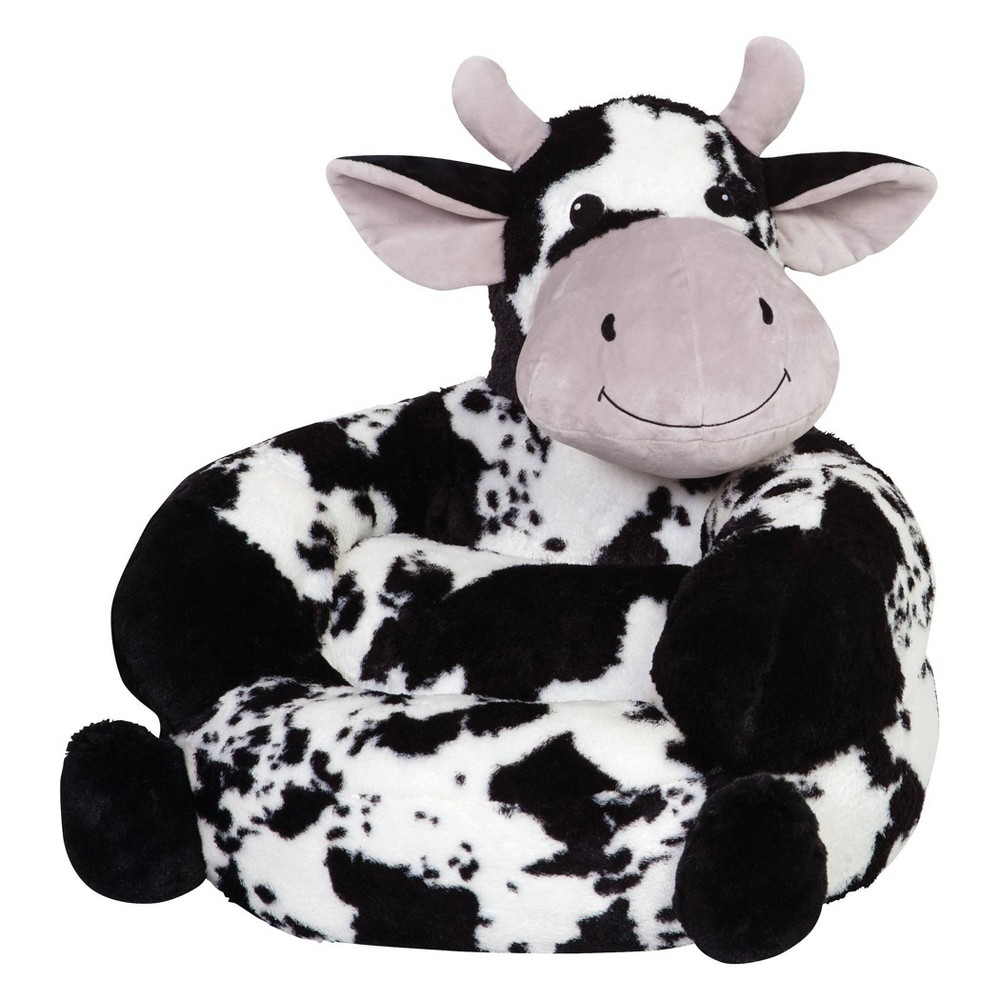 Image of Children's Plush Cow Character Chair Black/White - Trend Lab