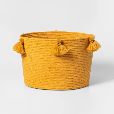 Large Coiled Rope Basket with Tassels Yellow - Pillowfort™