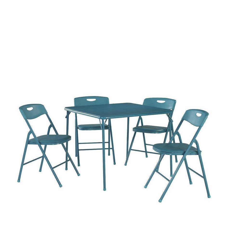 Image of 5pc Folding Table and Chair Set Teal - Room & Joy, Blue