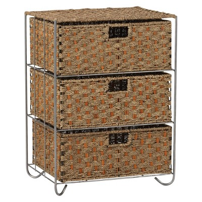 Household Essentials Seagrass and Rattan 3-Drawer Storage Unit