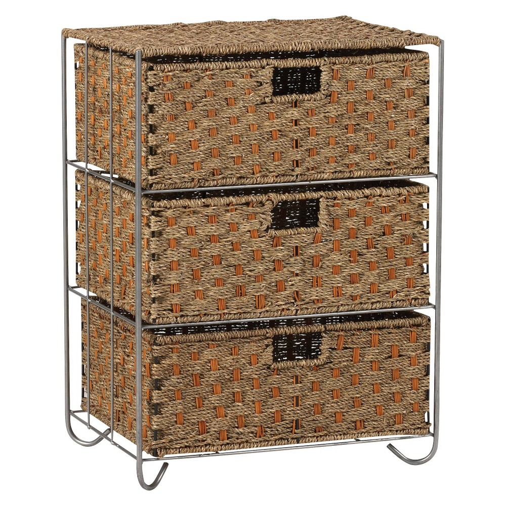 Image of Household Essentials Seagrass and Rattan 3-Drawer Storage Unit